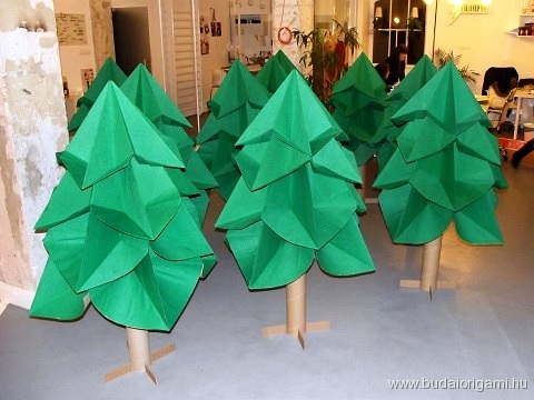 large-scale origami Christmas trees